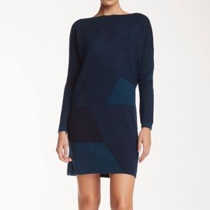 Vince Cashmere Wool Abstract Jacquard Dress S